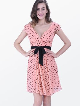 Ericdress Polka Dots Pleated Belt Casual Dress