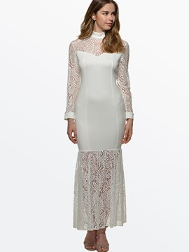 Ericdress maille Patchwork See-through Mermaid robe Maxi