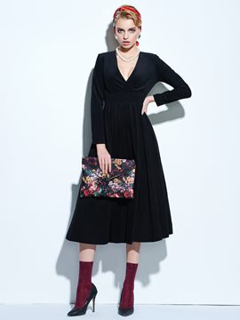 Ericdress Plain Deep V-Neck Long Sleeve Maxi Dress