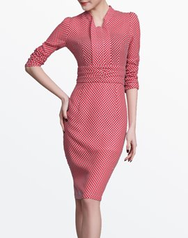 Ericdress Plaid Patchwork Three-Quarter Sleeve Sheath Dress