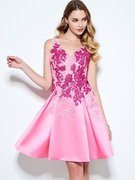 Ericdress A-Line V-Neck Appliques Short Homecoming Dress