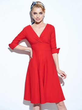 Ericdress Plain Half Sleeve V-Neck Casual Dress