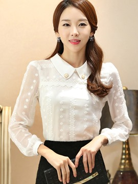 Ericdress White Long Sleeve Blouse