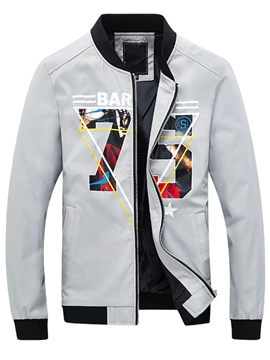 Ericdress Zip Vogue Print Men's Jacket