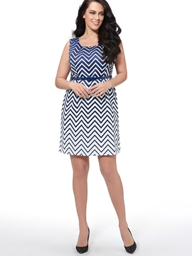 Ericdress Geometric Stripe Casual Dress