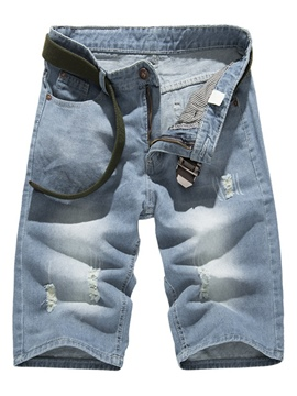 Ericdress Zip Holes Denim Casual Men's Shorts
