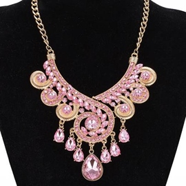 Ericdress Pink Crystal Glass Alloy Necklace