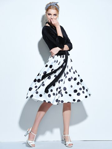 Ericdress Backless Polka Dots Patchwork Lace-Up Casual Dress