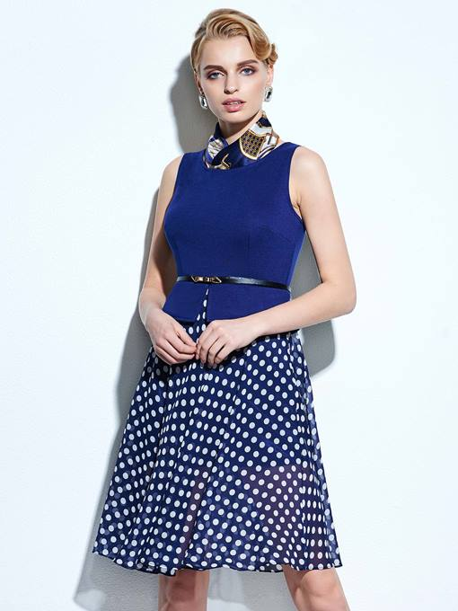Ericdress Polka Dots Belt Patchwork Casual Dress