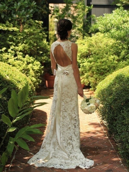 Ericdress Sashes Backless Lace Beach Wedding Dress