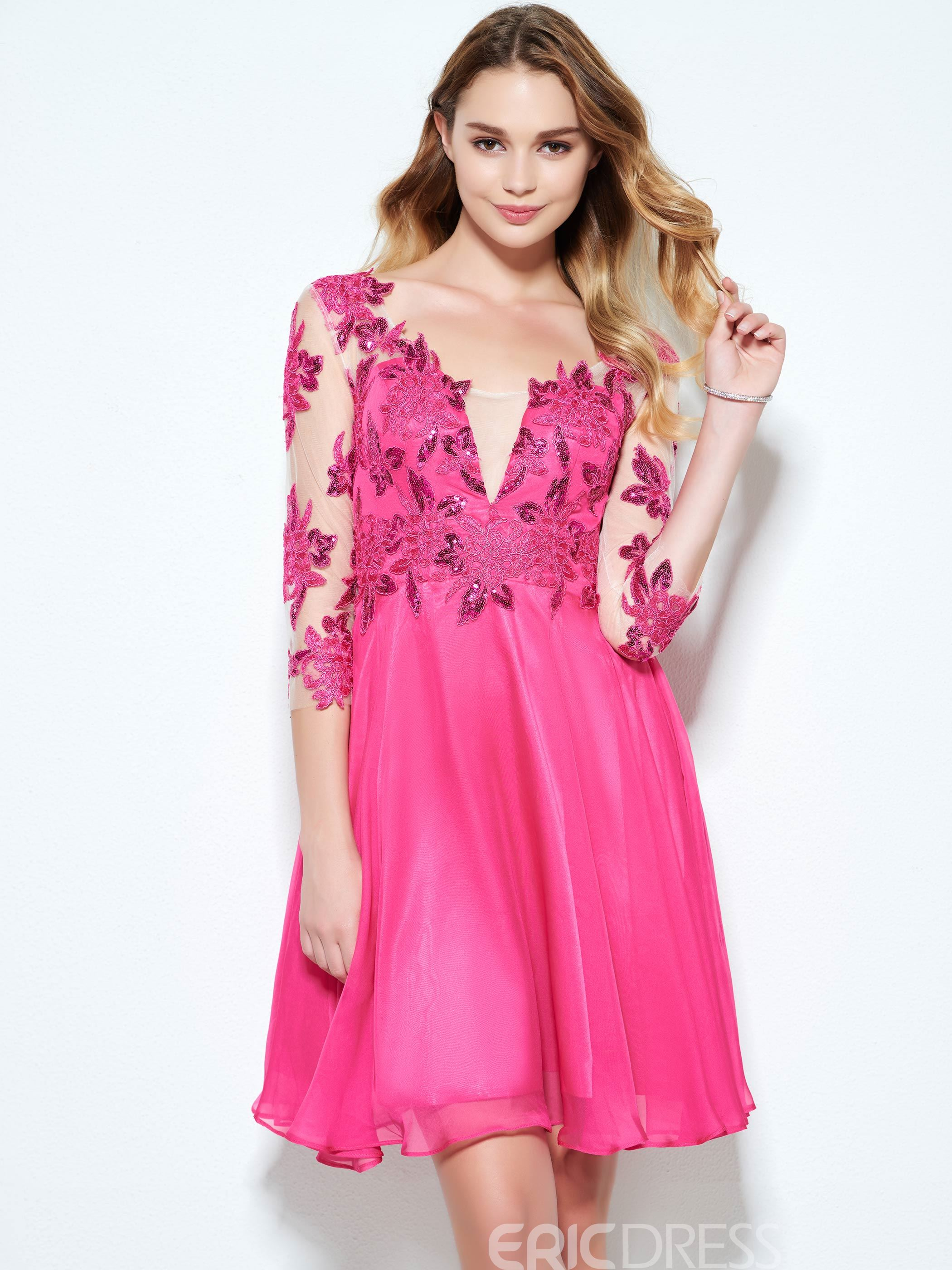 Ericdress A-Line V-Neck 3/4 Length Sleeves Appliques Button Sequins Shrot Homecoming Dress