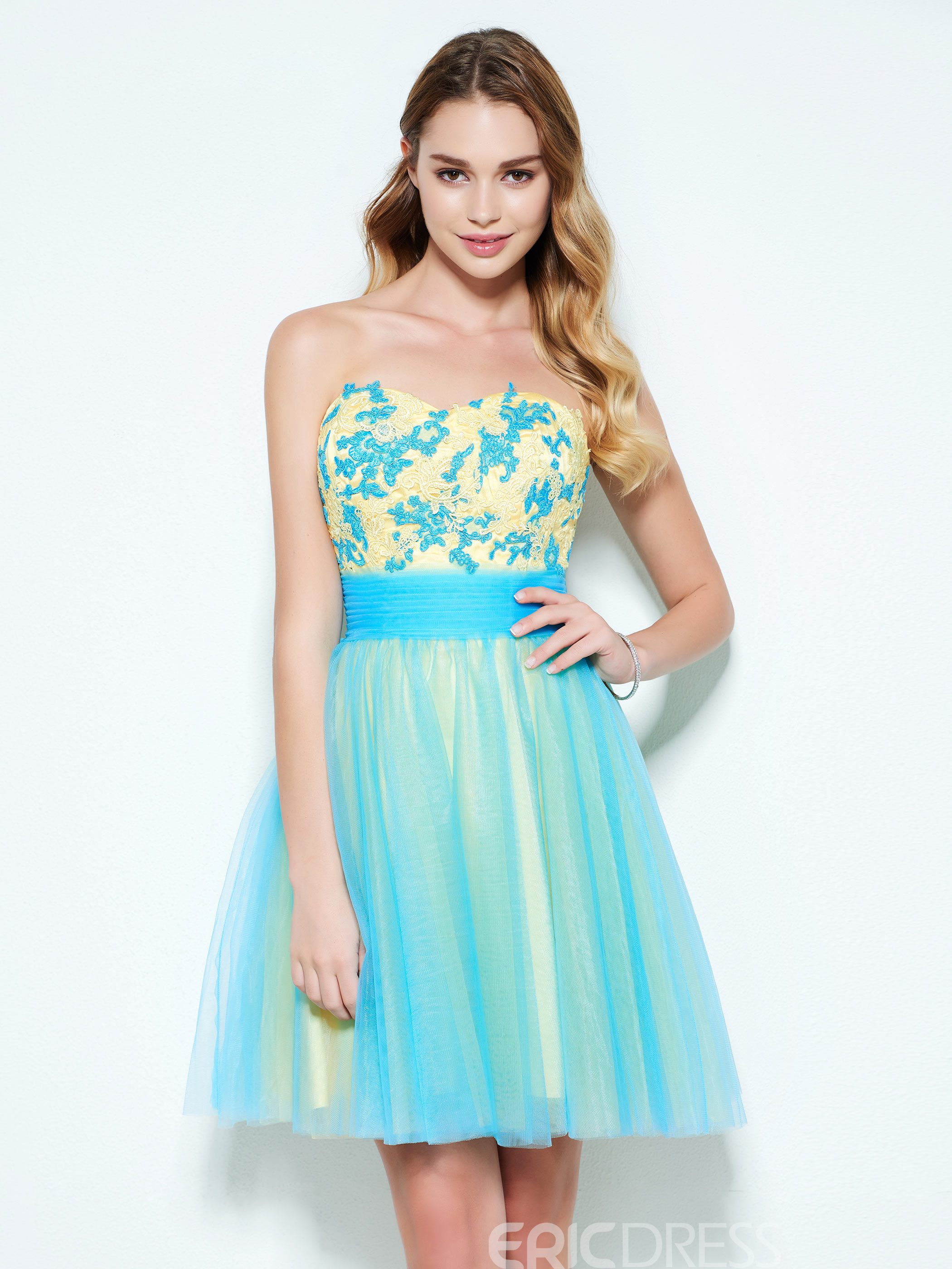 Ericdress A-Line Sweetheart Appliques Mini Homecoming Dress