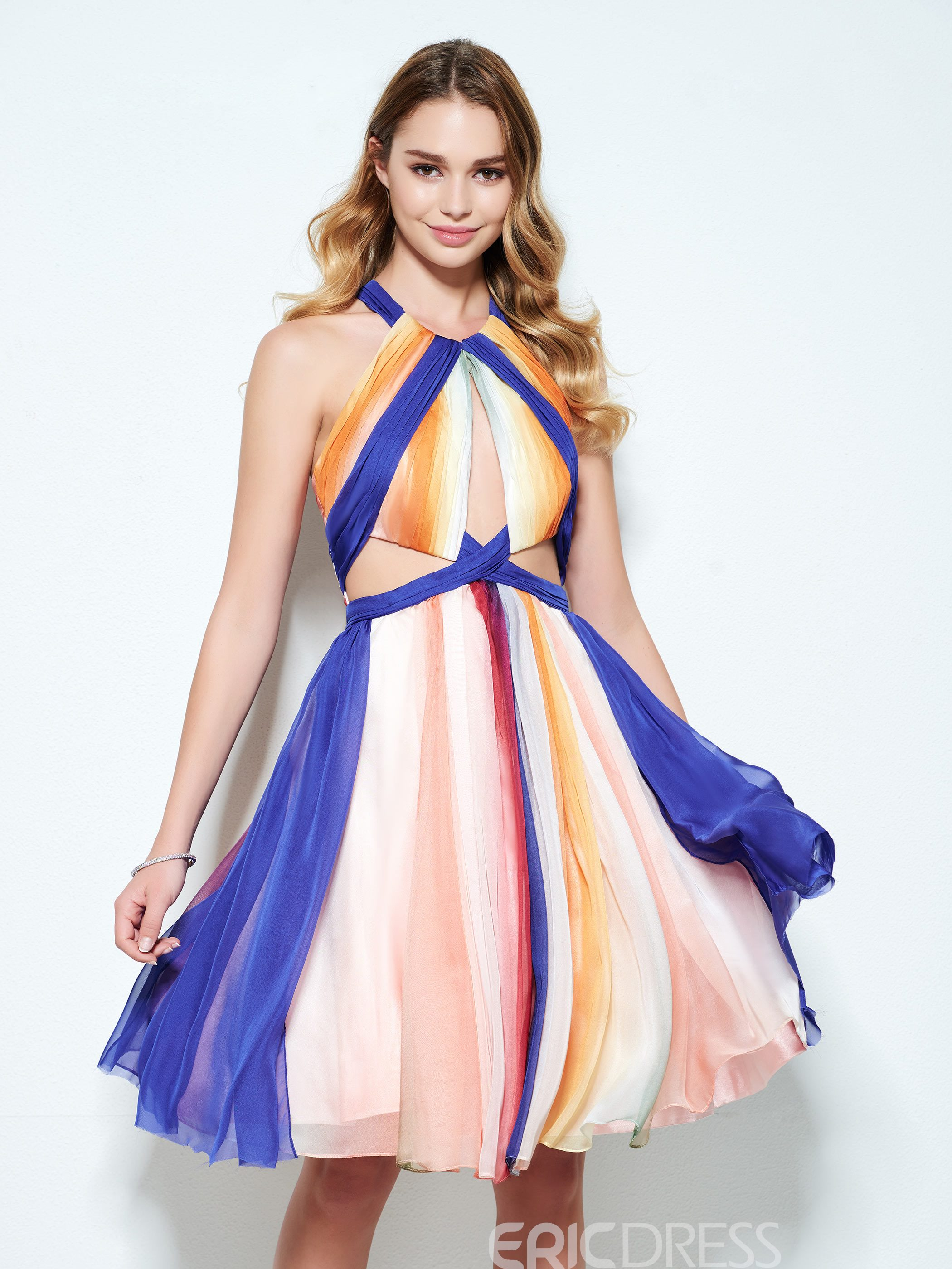 Ericdress A-Line Halter Pleats Knee-Length Homecoming Dress