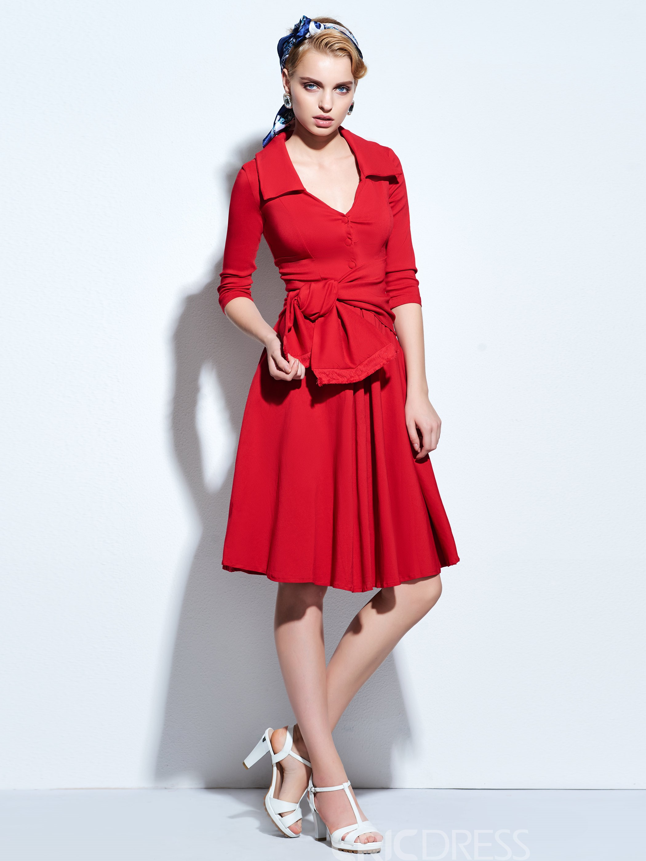 Ericdress Solid Color V-Neck Bowknot Vintage Casual Dress