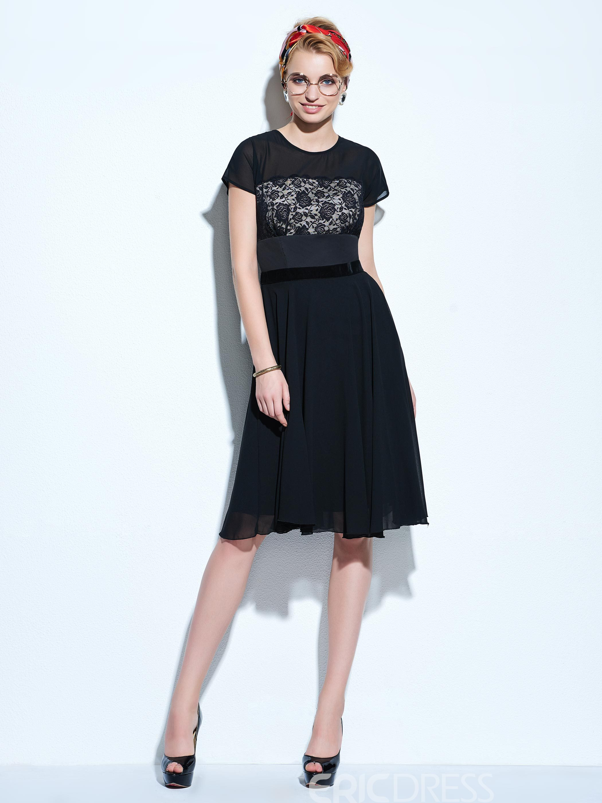 Ericdress Lace Patchwork Short Sleeve Hollow Casual Dress
