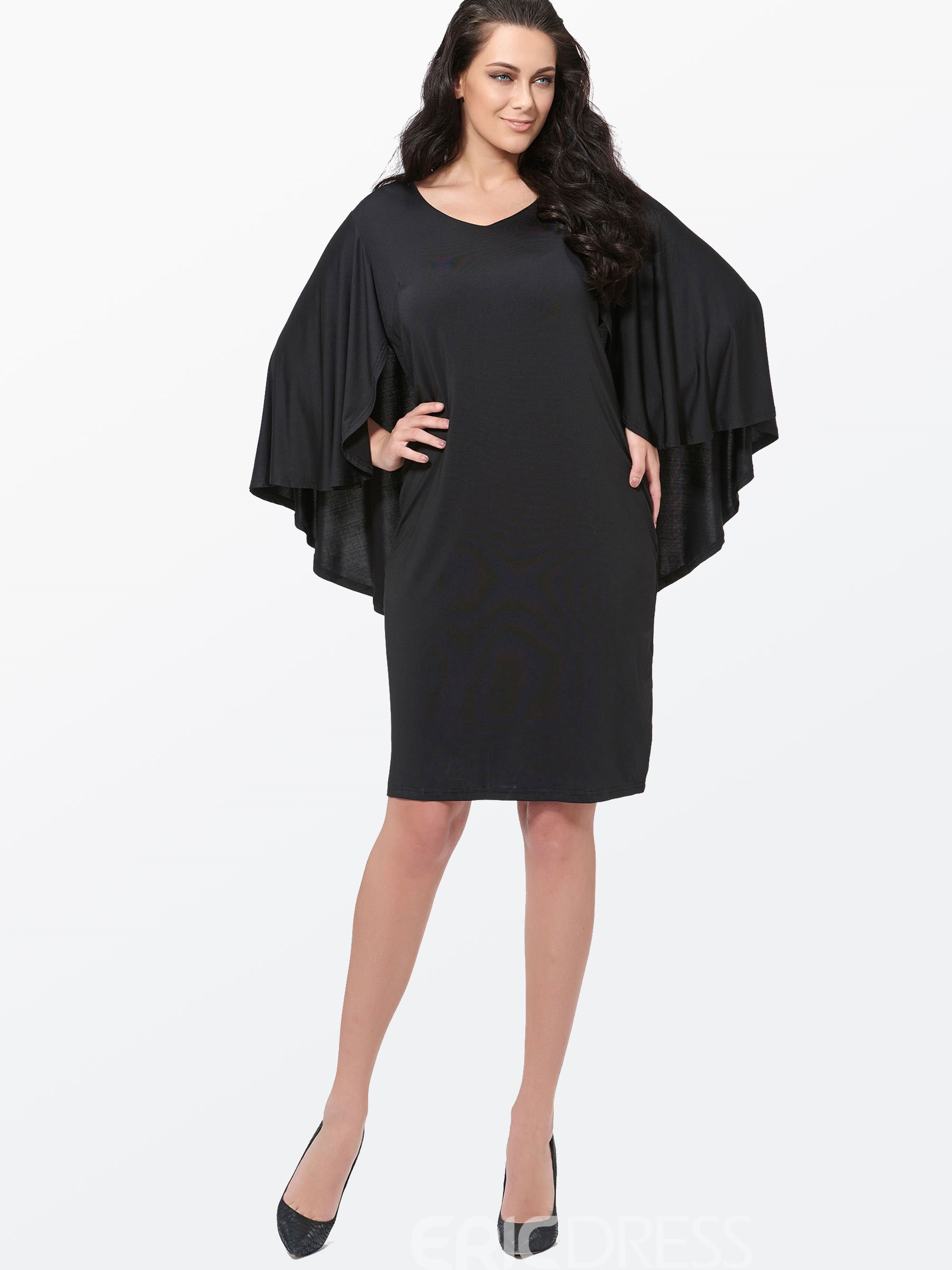 Ericdress Plain Cape Bell Sleeve Plus Size Bodycon Dress 11483040 ...