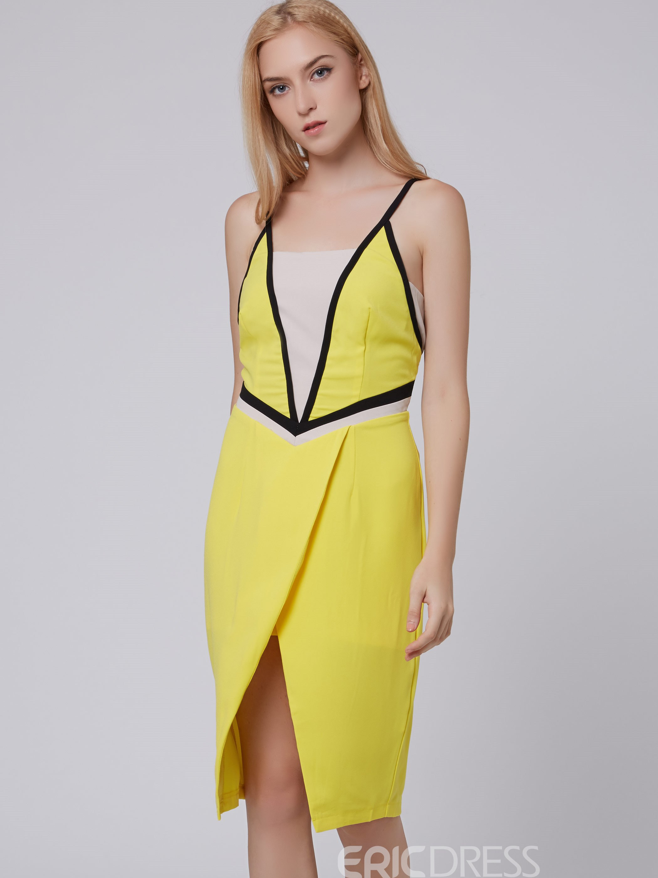 Ericdress Color Block Patchwork Split Bodycon Dress