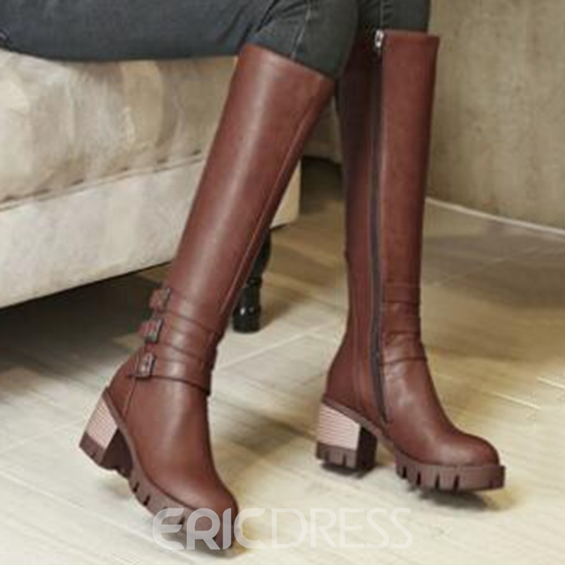 Ericdress Vintage Buckles Knee High Boots