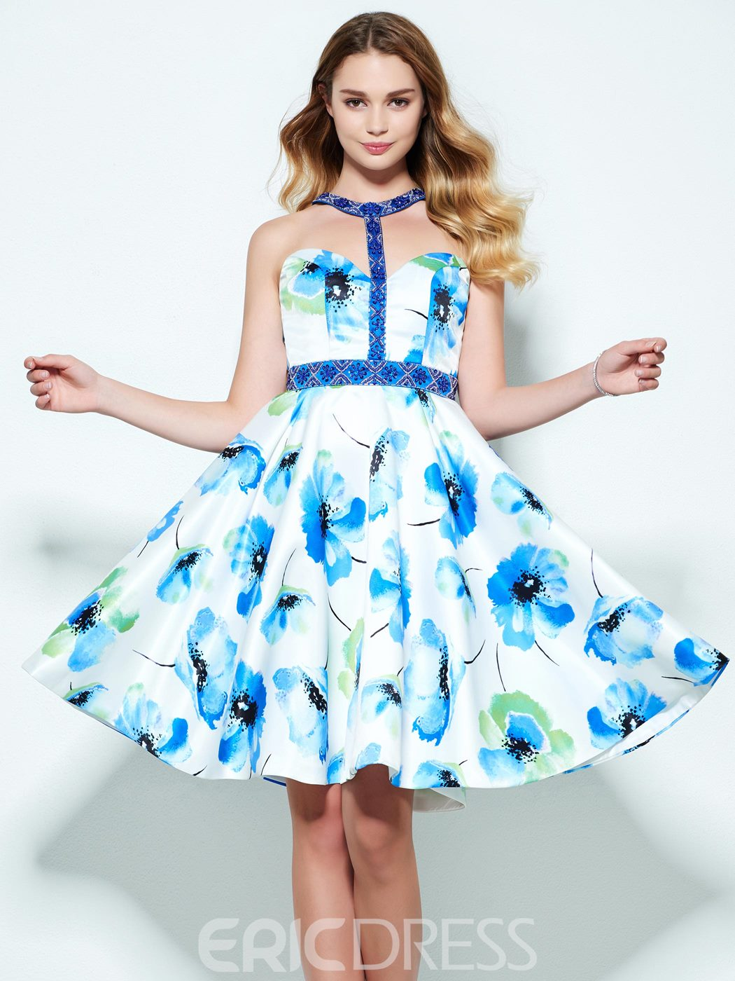Ericdress A-Line Halter Beading Printed Knee-Length Homecoming Dress