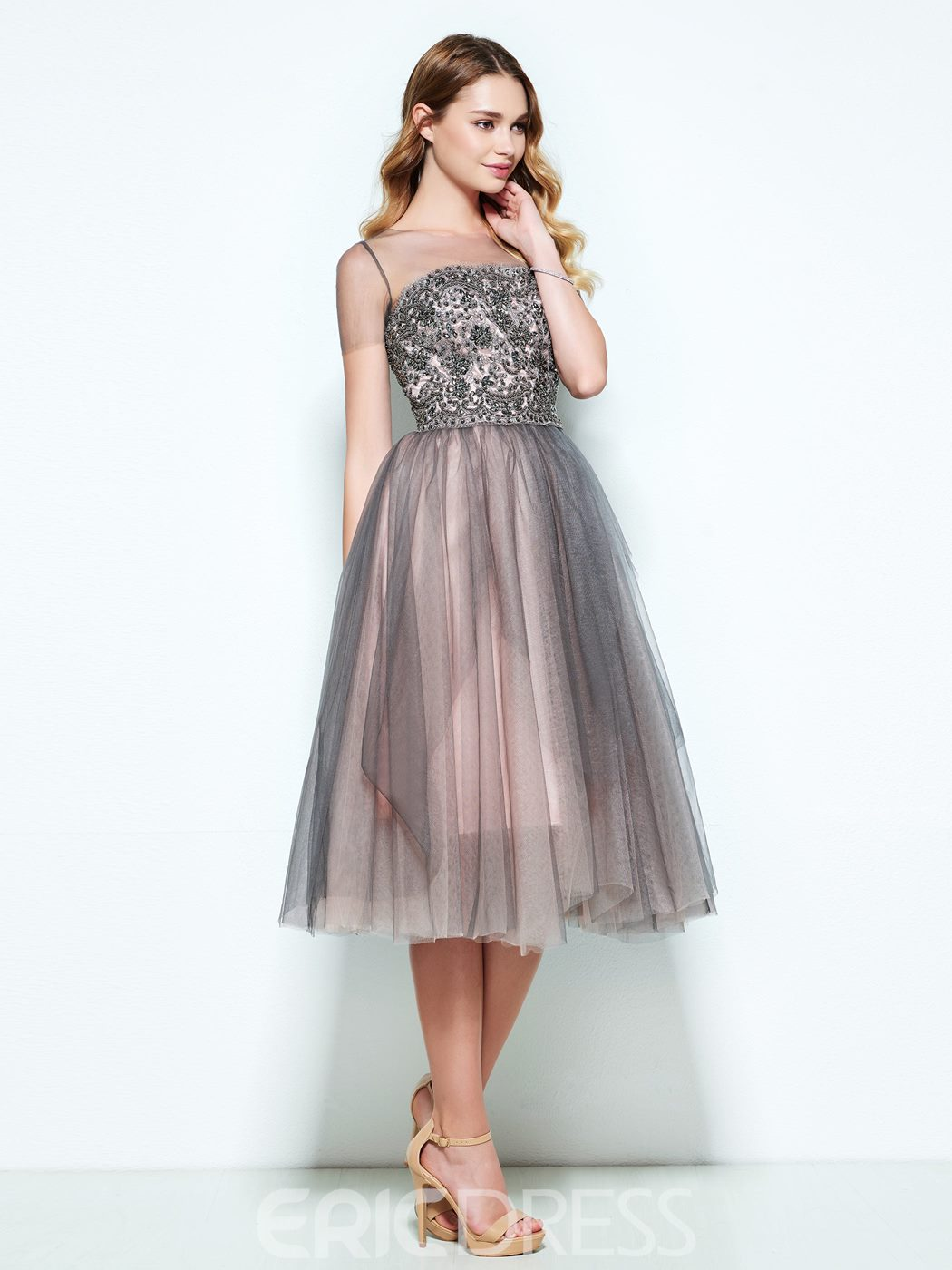Ericdress A-Line Bateau Short Sleeves Appliques Beaded Button Tea-Length Homecoming Dress