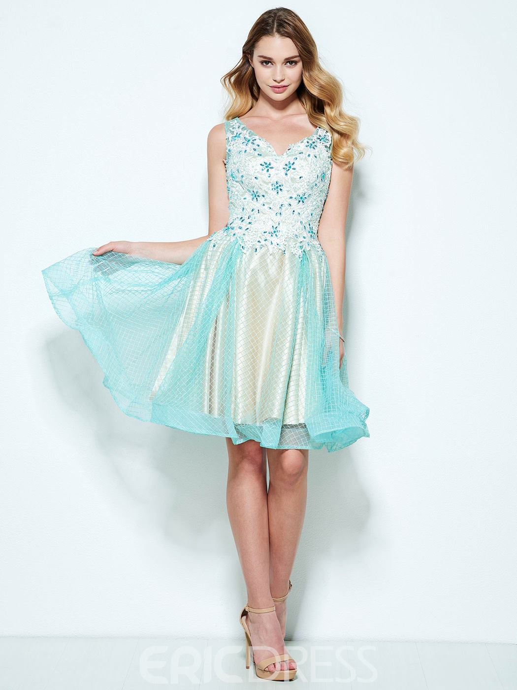 Ericdress A-Line V-Neck Appliques Beaded Knee-Length Homecoming Dress