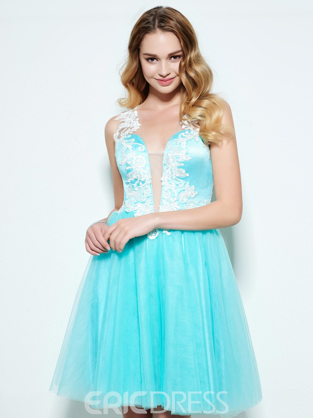 Ericdress A-Line Straps Appliques Button Short Homecoming Dress