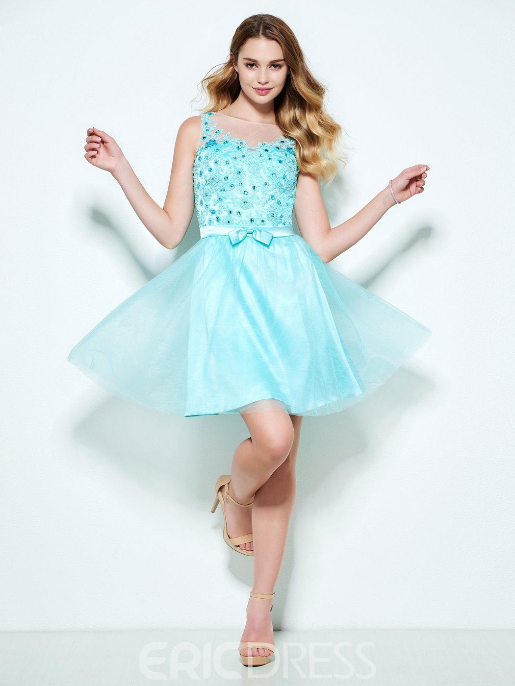 Ericdress A-Line Bateau Appliques Beaded Bowknot Short Homecoming Dress