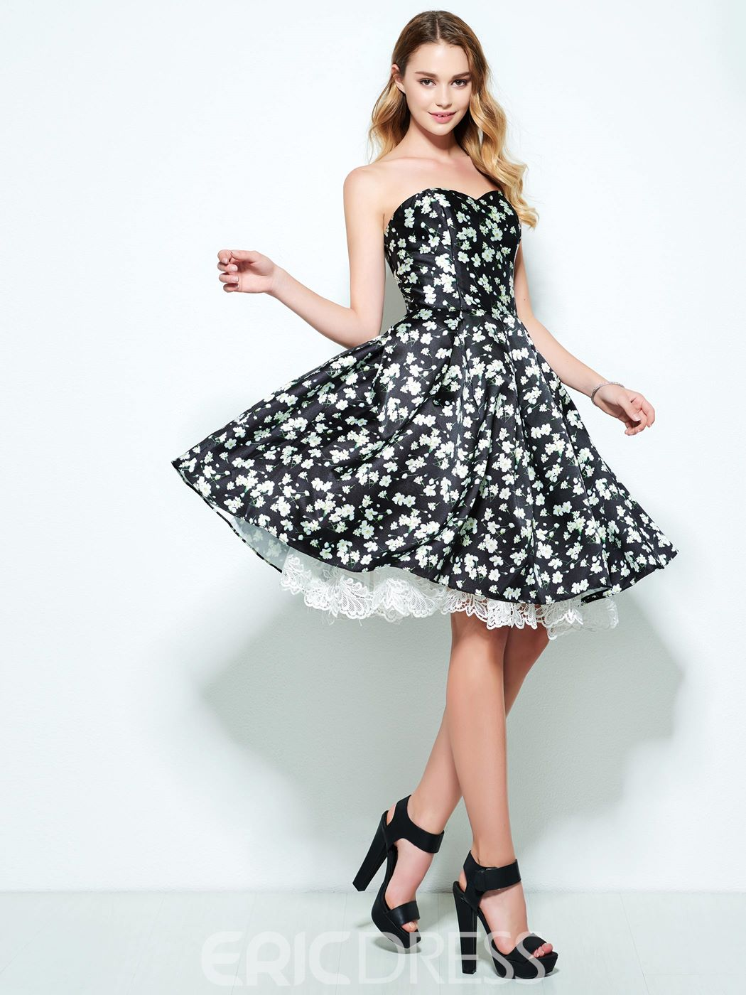 Ericdress A-Line Sweetheart Lace Prined Knee-Length Homecoming Dress