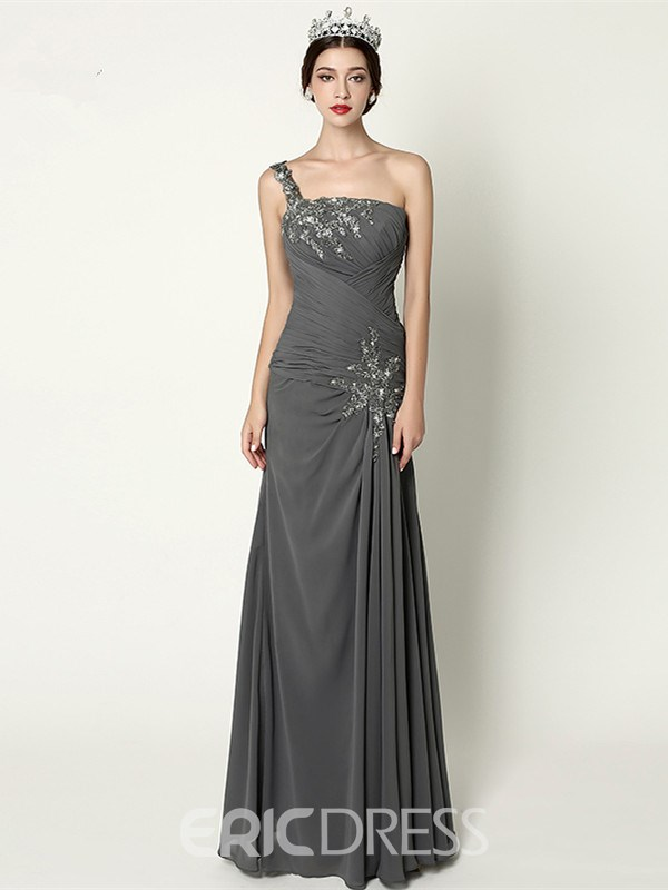 Ericdress A-Line One-Shoulder Appliques Beading Pleats Floor-Length Evening Dress