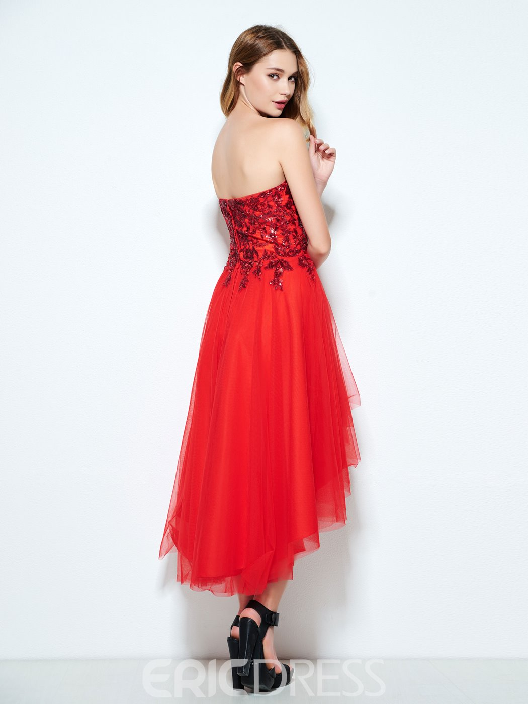 Ericdress A-Line One-Shoulder Beading Ruched Long Prom Dress