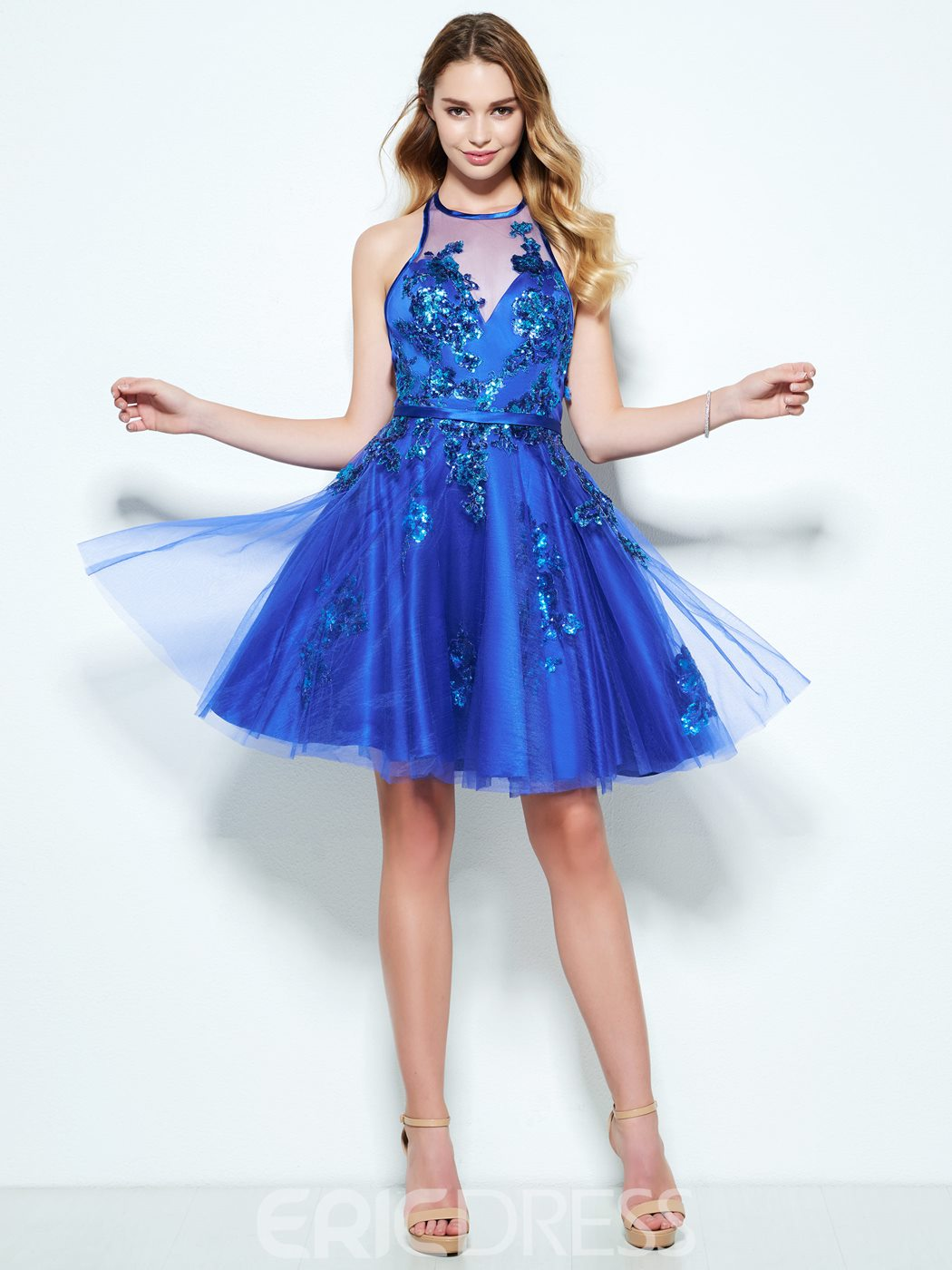 Ericdress A-Line Halter Appliques Sequins Short Homecoming Dress