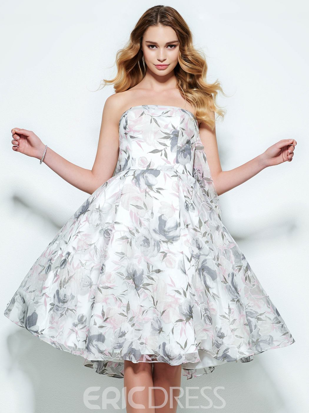 Ericdress Strapless A-Line Print Homecoming Dress In Knee Length
