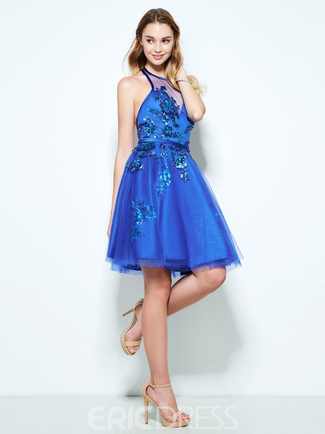 Ericdress Halter Appliques Sequins Backless Homecoming Dress