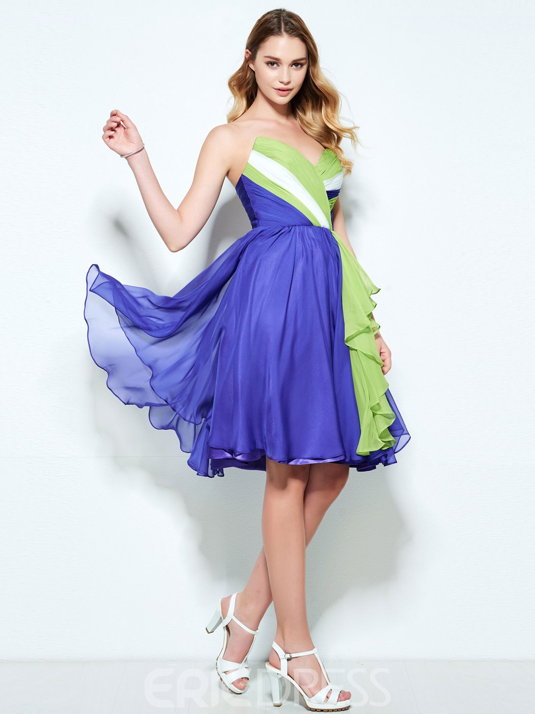 Ericdress A-Line Sweetheart Pleats Knee-Length Homecoming Dress