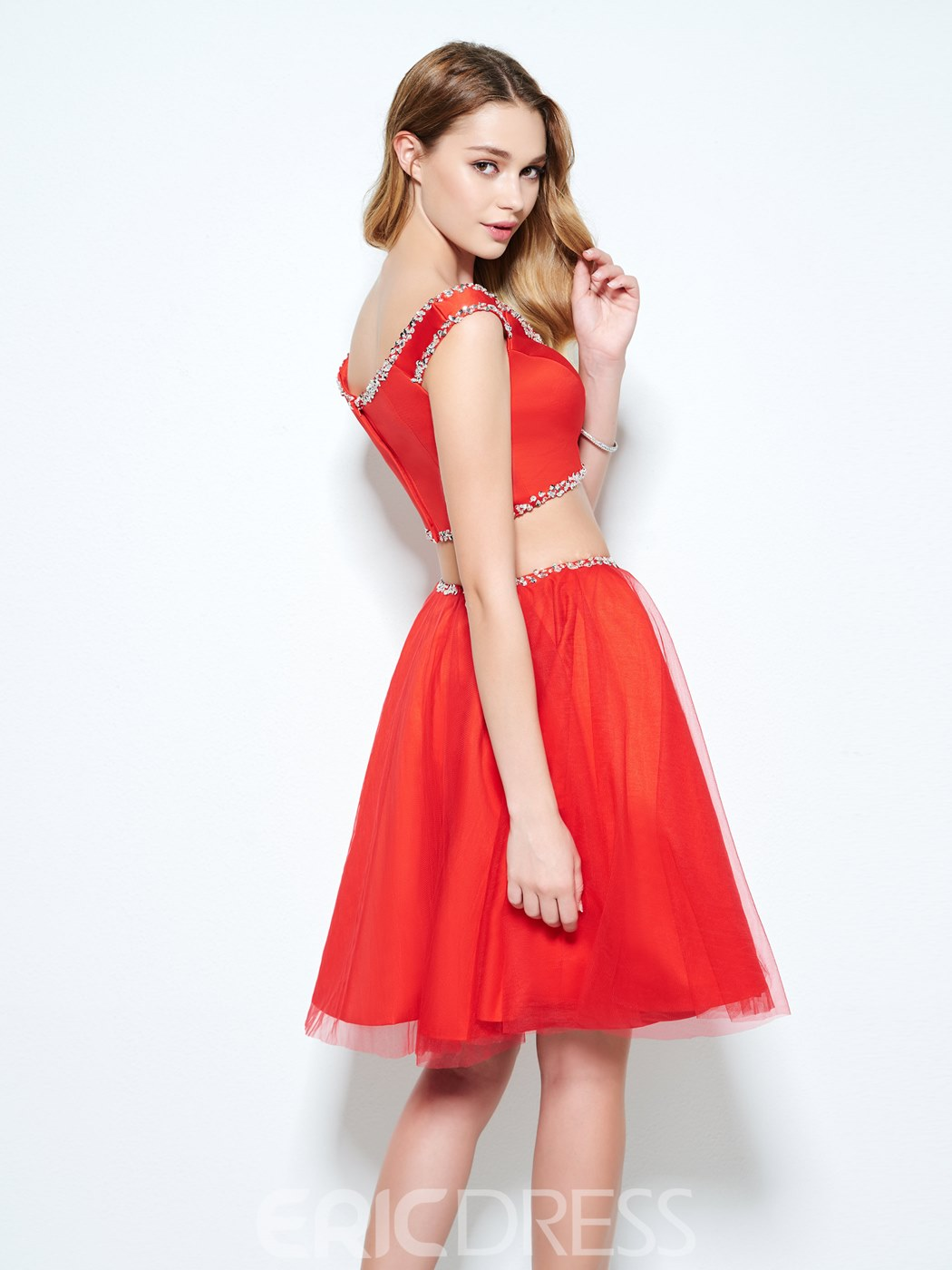 Ericdress Two Pieces V-Neck A-Line Beading Knee-Length Homecoming Dress