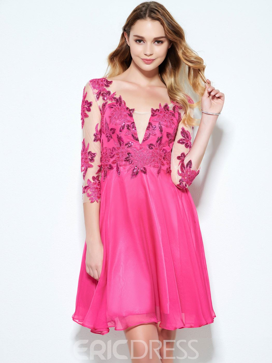 Ericdress 3/4 Length Sleeves Appliques Homecoming Dress
