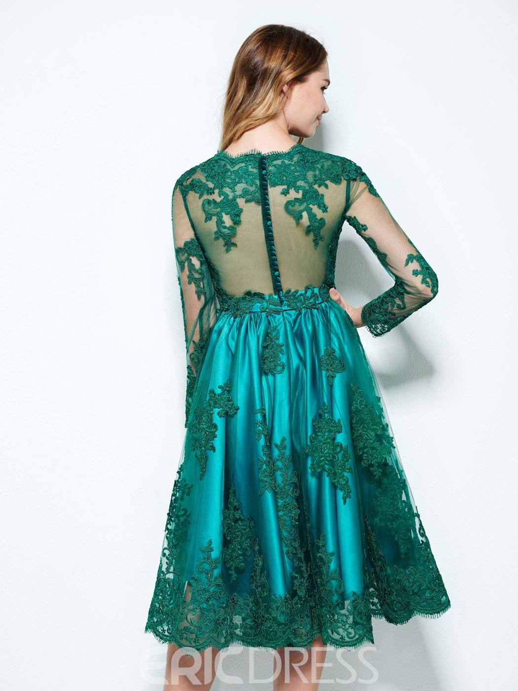 Ericdress A-Line Bateau Long Sleeves Appliques Button Lace Asymmetry Homecoming Dress