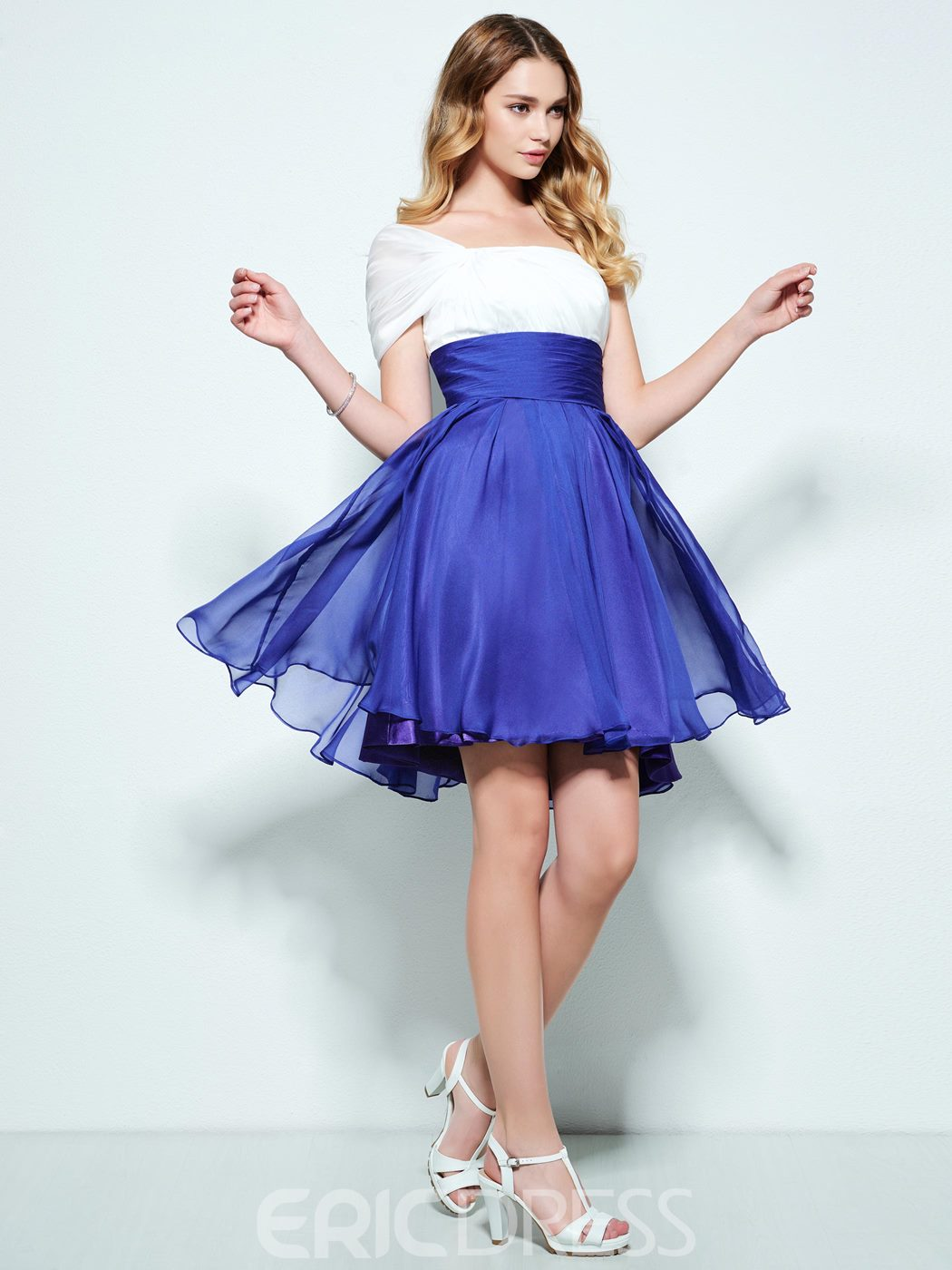 Ericdress A-Line One-Shoulder Draped Ruched Short Homecoming Dress