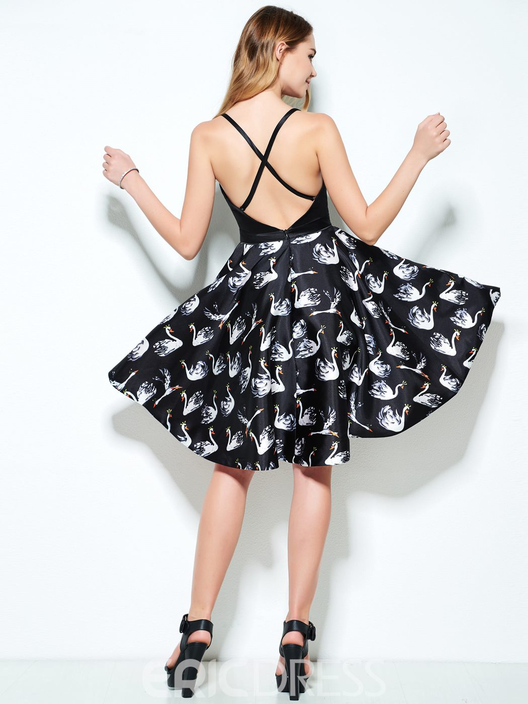 Ericdress A-Line Spaghetti Straps Printed Sashes Short Homecoming Dress