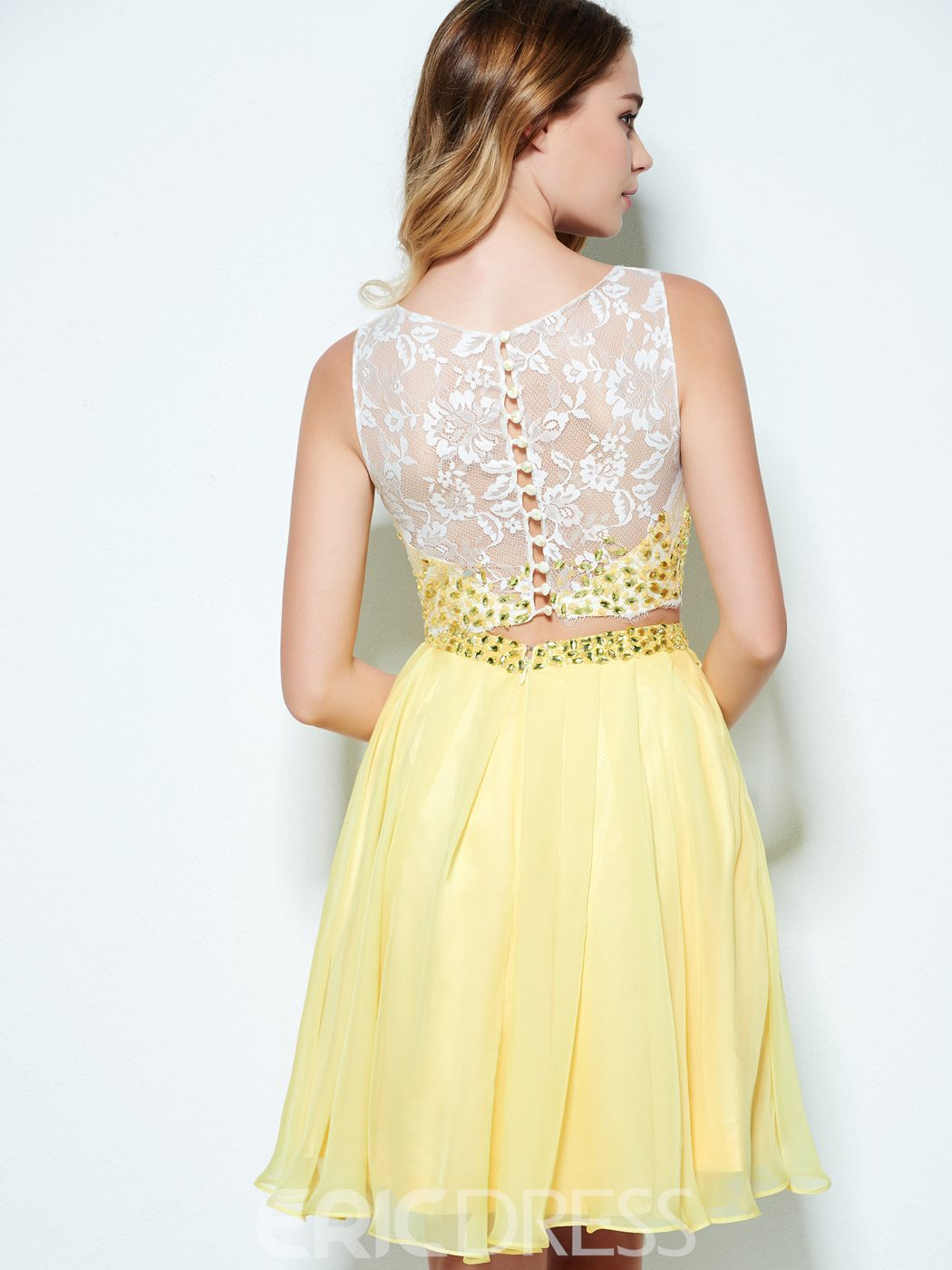 Ericdress A-Line Bateau Beading Button Lace Short Homecoming Dress