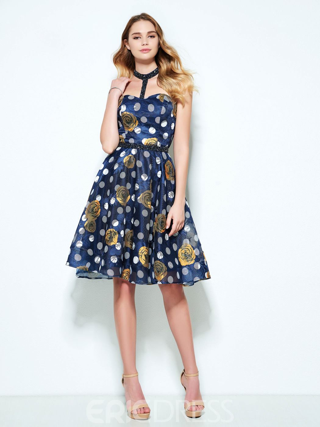 Ericdress A-Line Halter Beading Printed Short Homecoming Dress