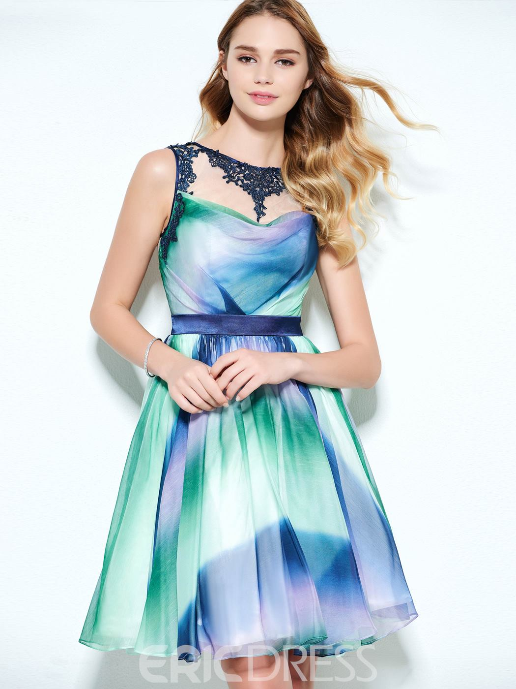 Ericdress A-Line Straps Appliques Button Printed Sashes Homecoming Dress