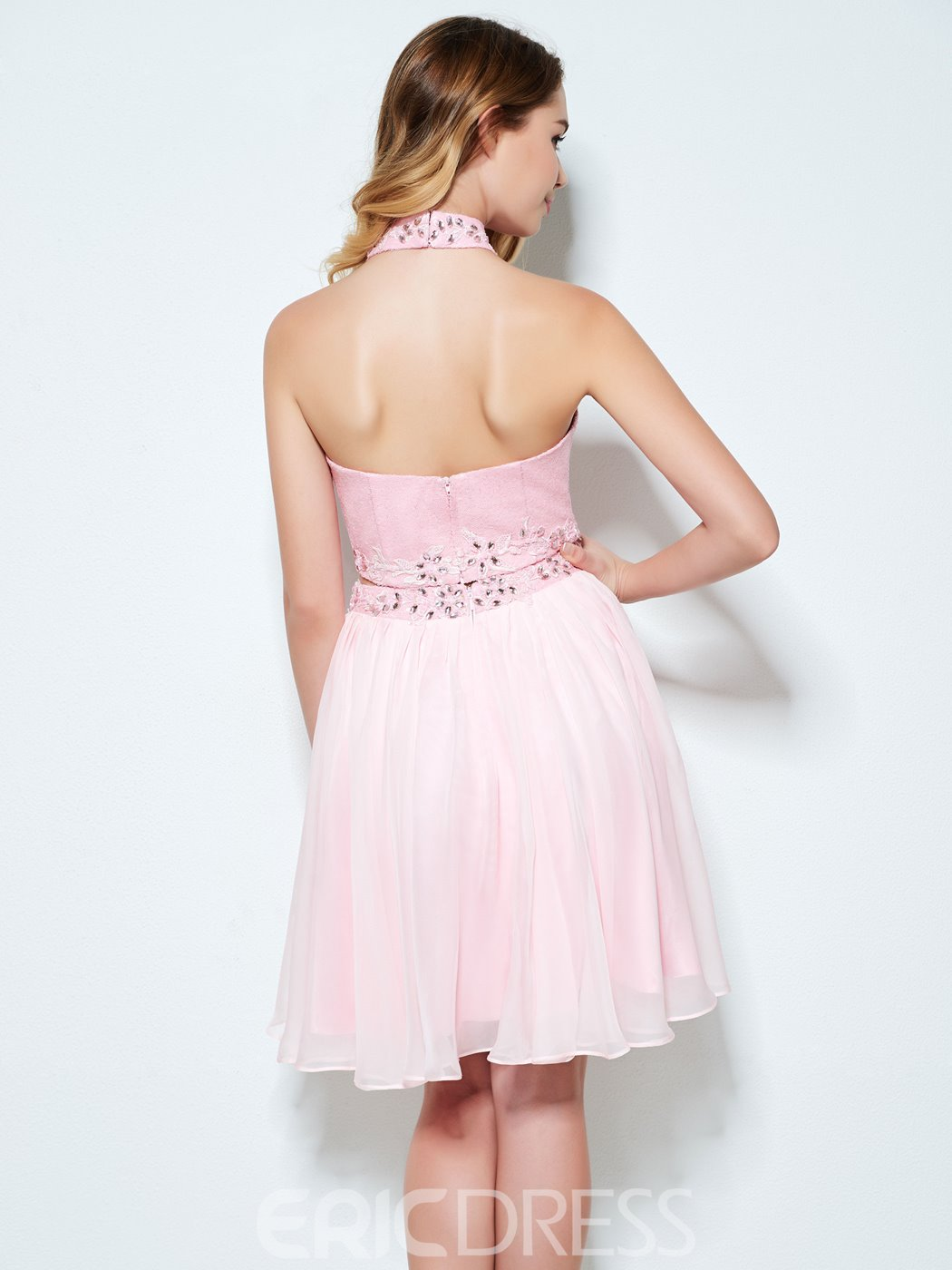 Ericdress A-Line Halter Beading Ruched Sequins Short Homecoming Dress