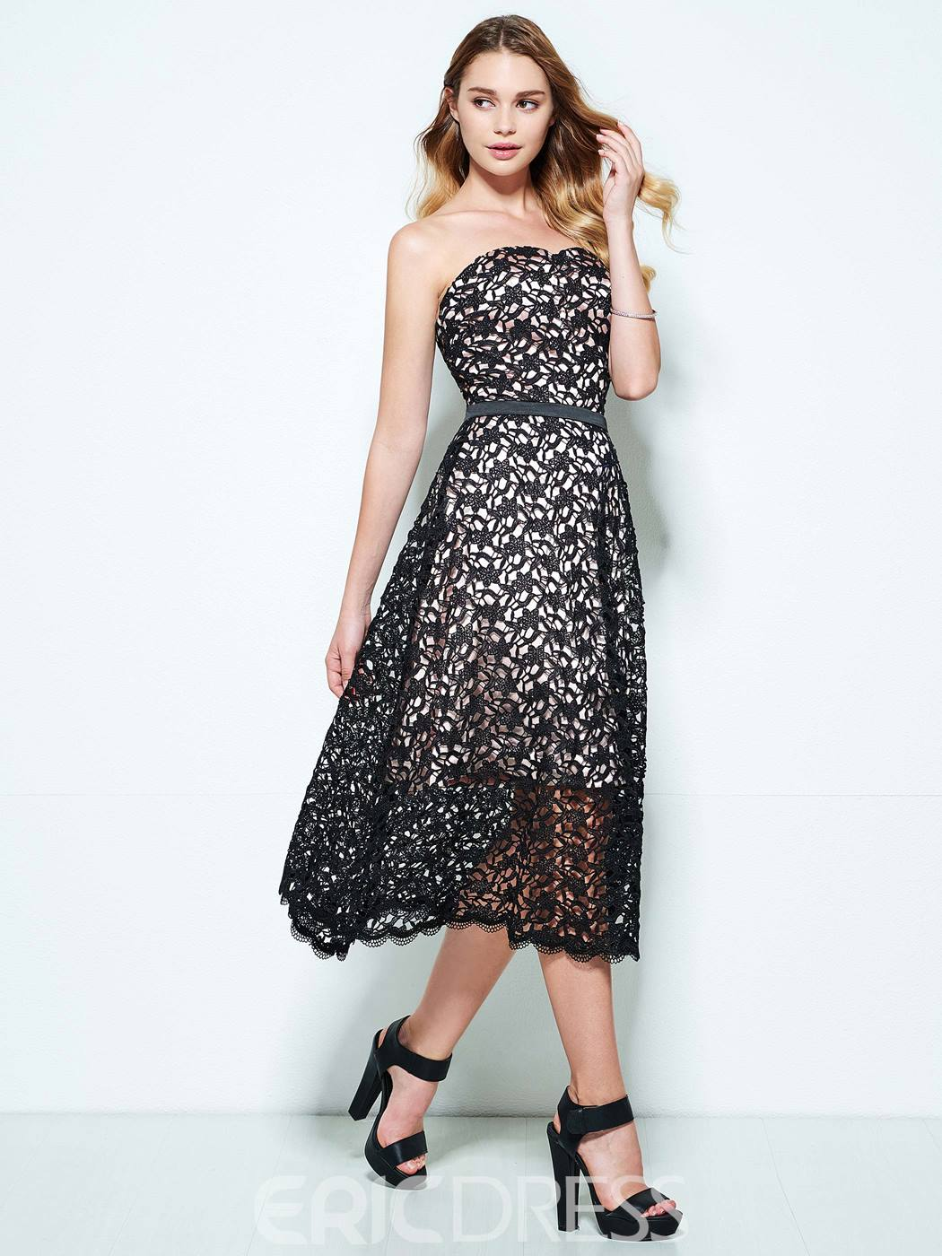 Ericdress A-Line Sweetheart Lace Tea-Length Homecoming Dress