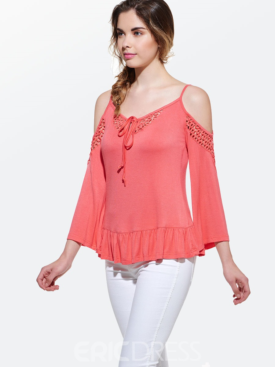 Ericdress Cold Shoulder Spaghetti Strap T-Shirt