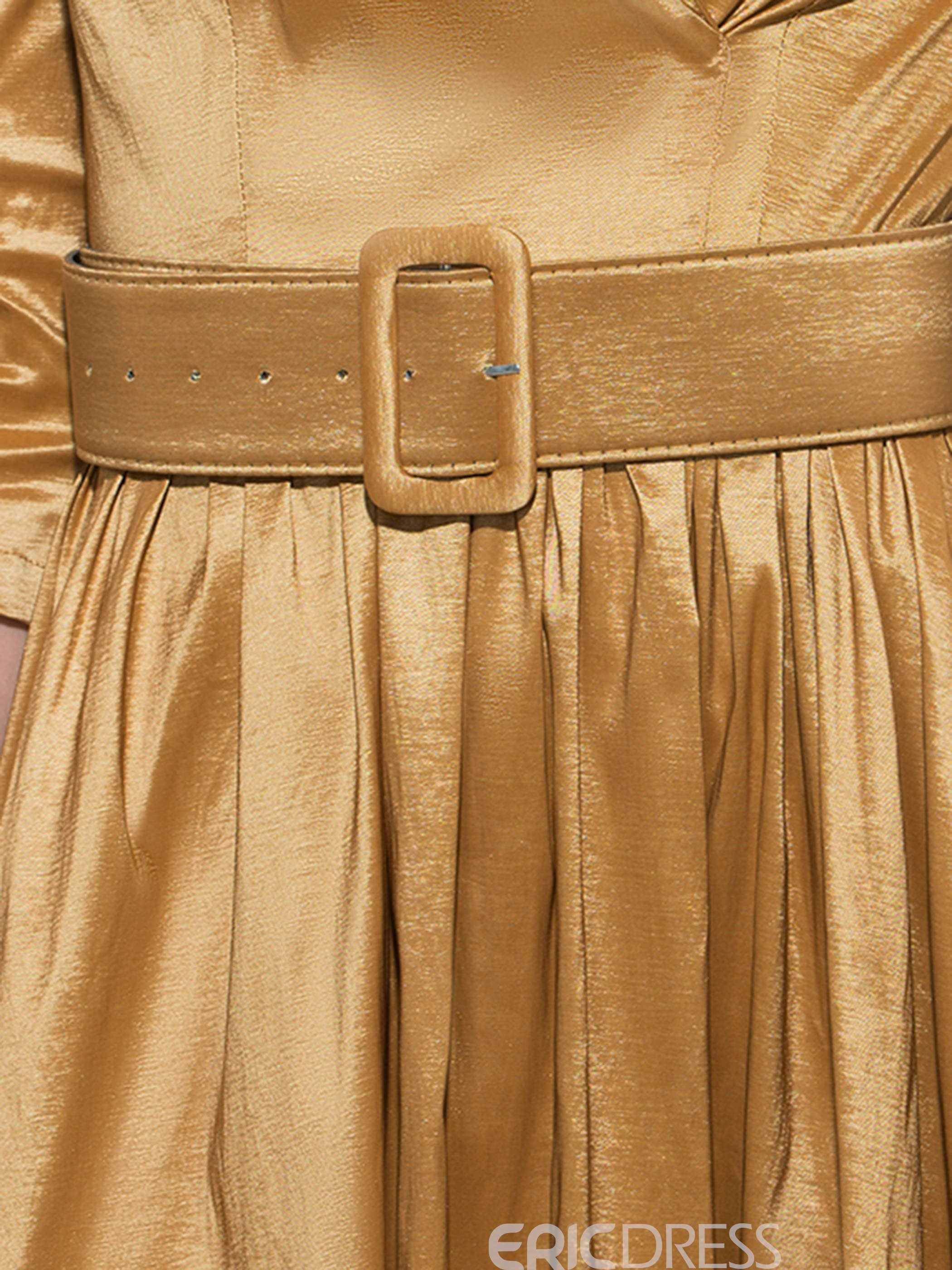 Ericdress Notched Lapel Belt Pleated Patchwork Platinum Plated Casual Dress
