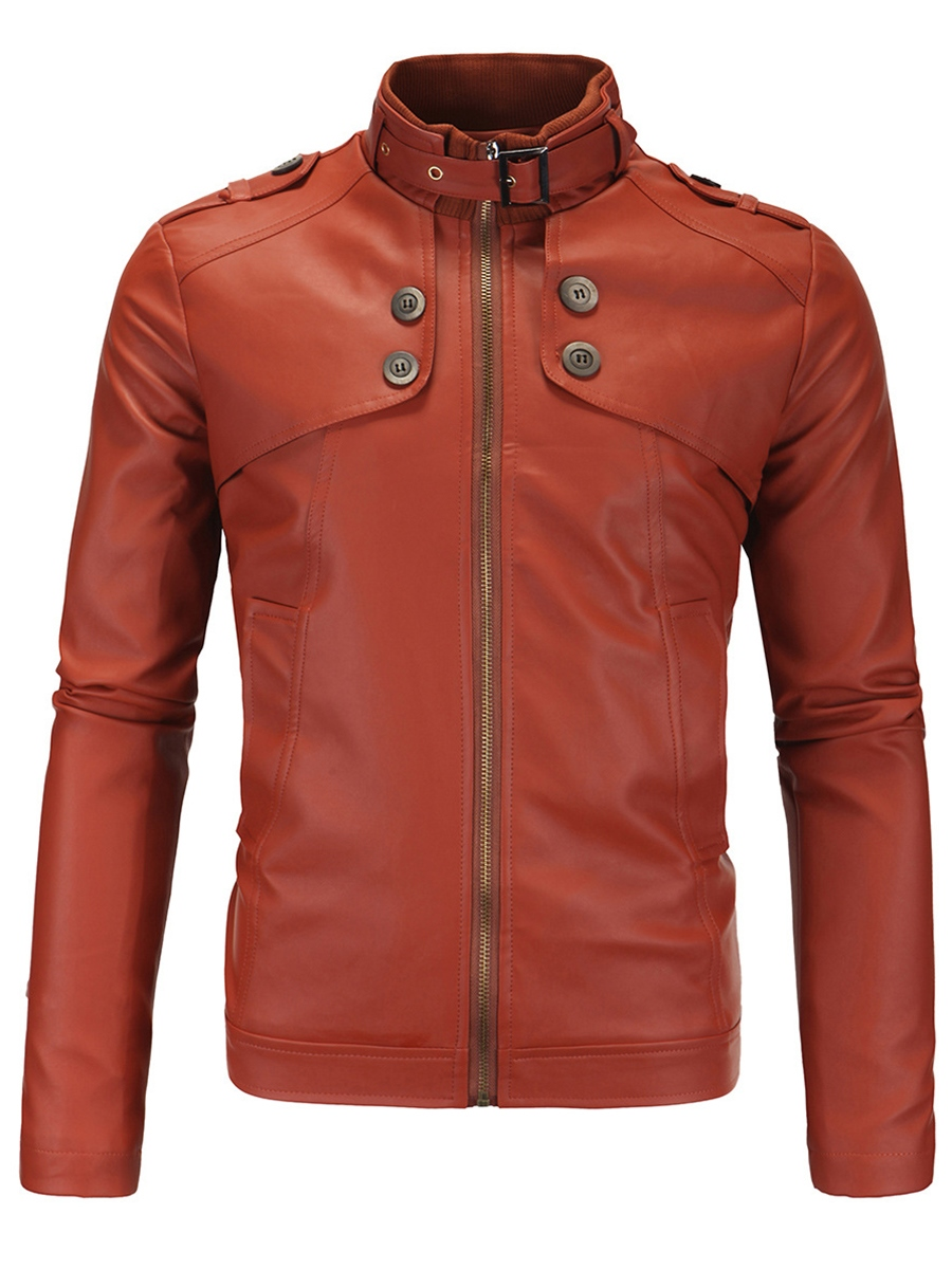 Ericdress Solid Color Zipper Vogue PU Men's Jacket