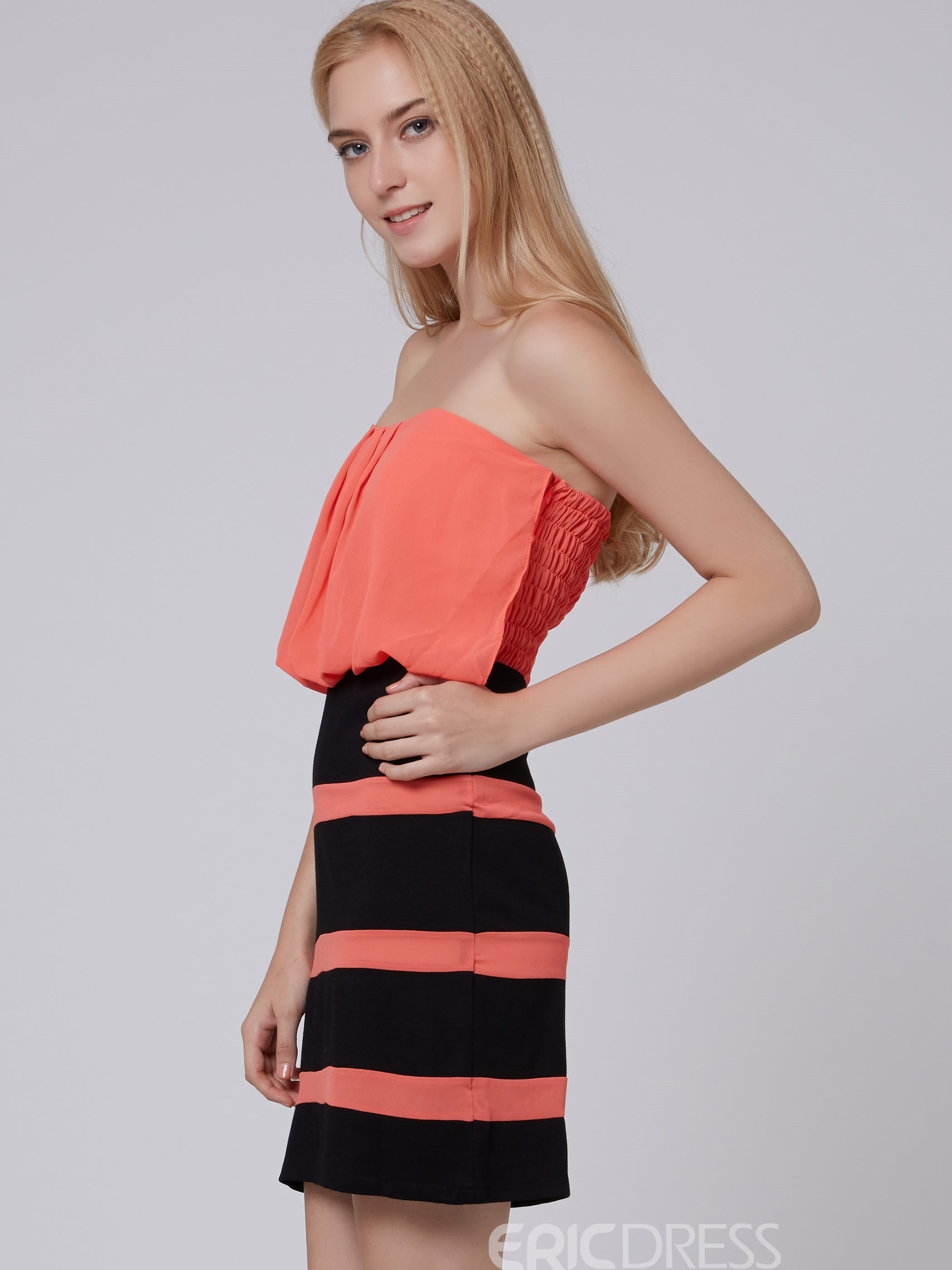 Ericdress Patchwork Strip Strapless Bodycon Dress