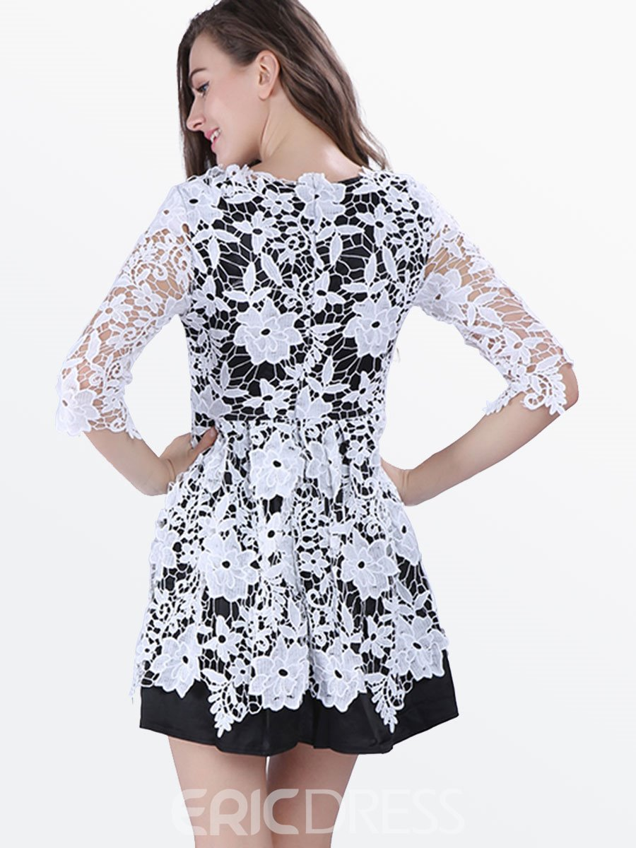 Ericdress Half Sleeve See-Through Lace Dress