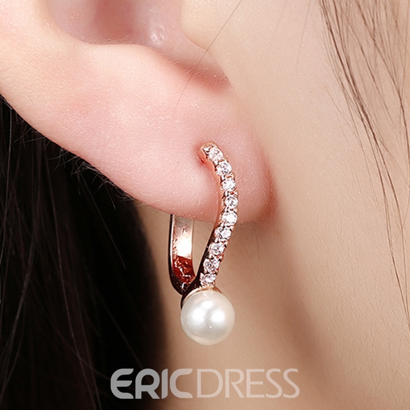 Ericdress Rose Gold Diamante Hoop Earrings